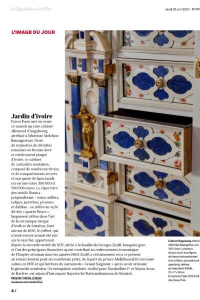 «Jardin d'ivoire» : notre cabinet d'Augsburg dans Le Quotidien de l'Art
