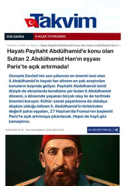 Le Quotidien turc Takvim détaille la vente de notre cabinet du sultan