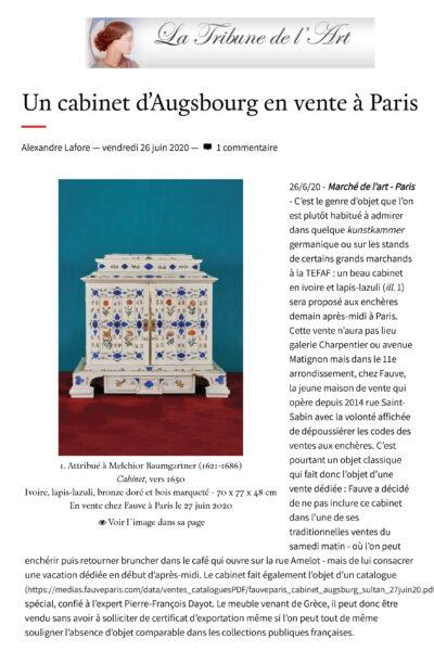 La Tribune de l'Art annonce la vente de notre rare cabinet