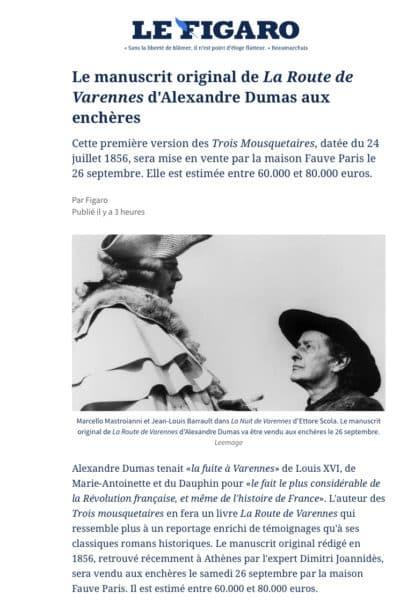 Notre manuscrit dans Le Figaro : «Le manuscrit original de La Route de Varennes d'Alexandre Dumas aux enchères»