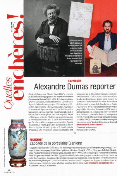 FauveParis dans Point de vue : <br/>«Alexandre Dumas reporter»