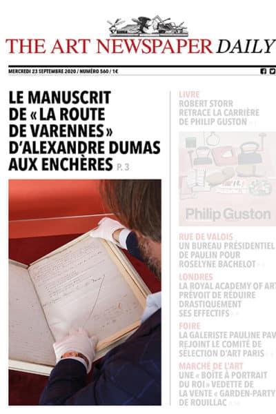 Notre manuscrit d'Alexandre Dumas en Une de The Art Newspaper